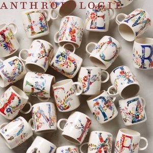 Anthropologie Petal Palette Monogram Mug